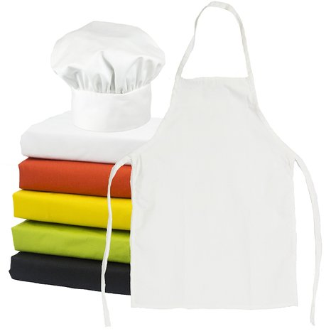 A child's chef hat and apron set.