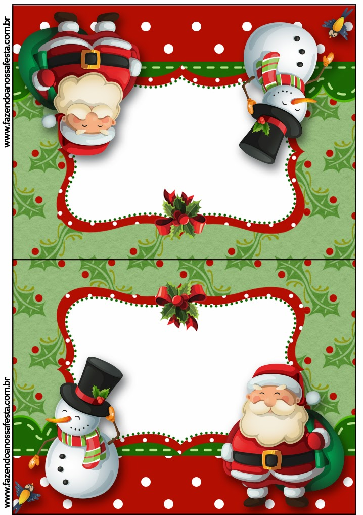 Snowman And Santa Free Printable Invitations Cards And