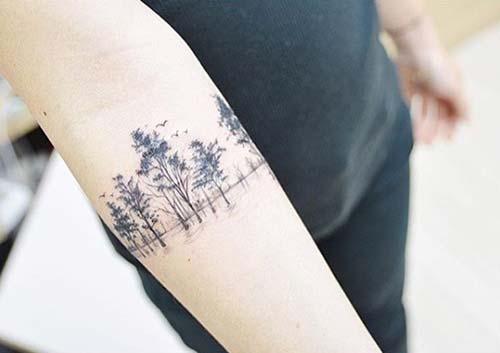 armband tattoo forest orman silüeti kol bandı dövmesi
