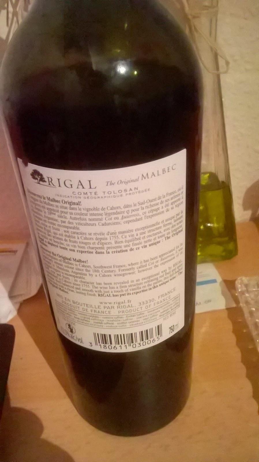 Rigal , malbec, comté tolosan
