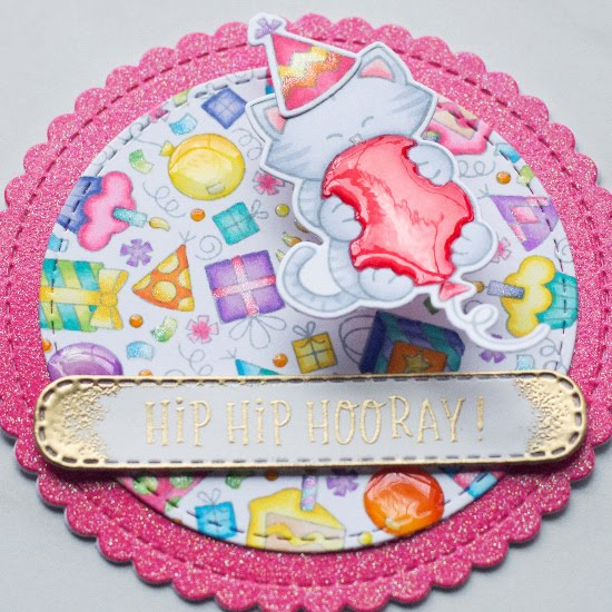 Cat Birthday Circle Card by June Guest Designer Amy Tollner   Birthday Roundabout Stamp Set, Newton's Birthday Bash Stamp Set, Circle Frames Die Set, and Banner Trio Die Set by Newton's Nook Designs #newtonsnook #handmade