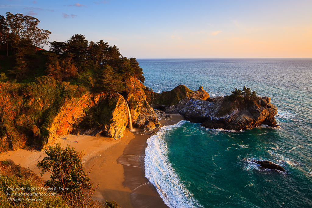 a photo of mcway waterfall big sur at sunset