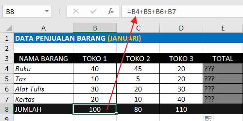Rumus Excel Penjumlahan Ke Bawah Dengan Operator Plus