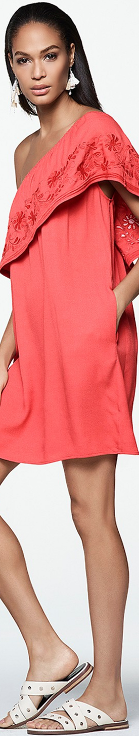 Rebecca Minkoff Rita One Shoulder Dress in Hibiscus Red
