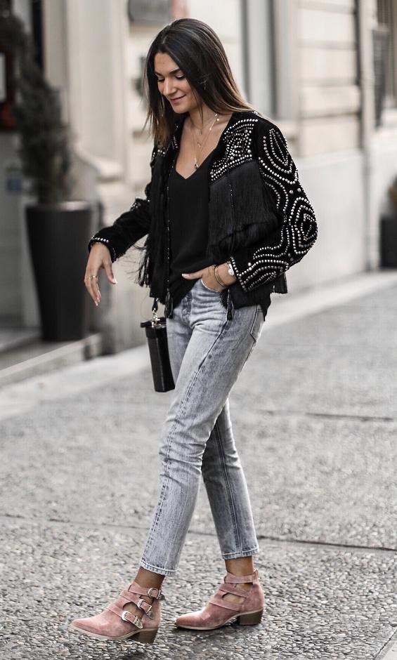 street style addict / boots + jeans + silk top + black biker jacket