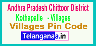 East Godavari District Kothapalle Mandal and Villages Pin Codes in Andhra Pradesh State