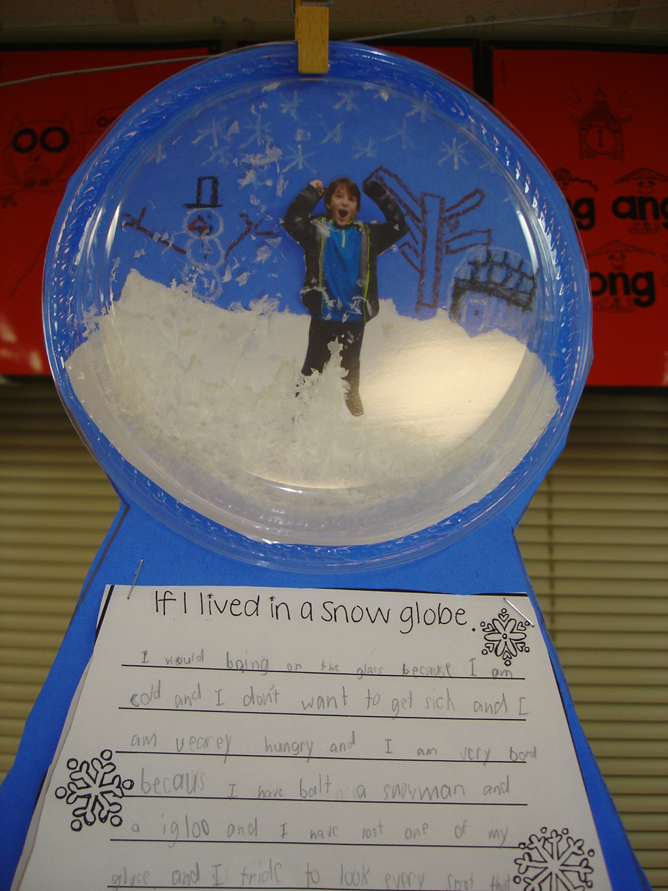 Stuck in a snow globe writing activity for preschool