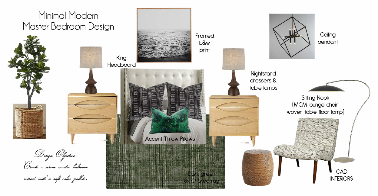 CAD INTERIORS interior design edesign mood board transitional neutral texture green black white