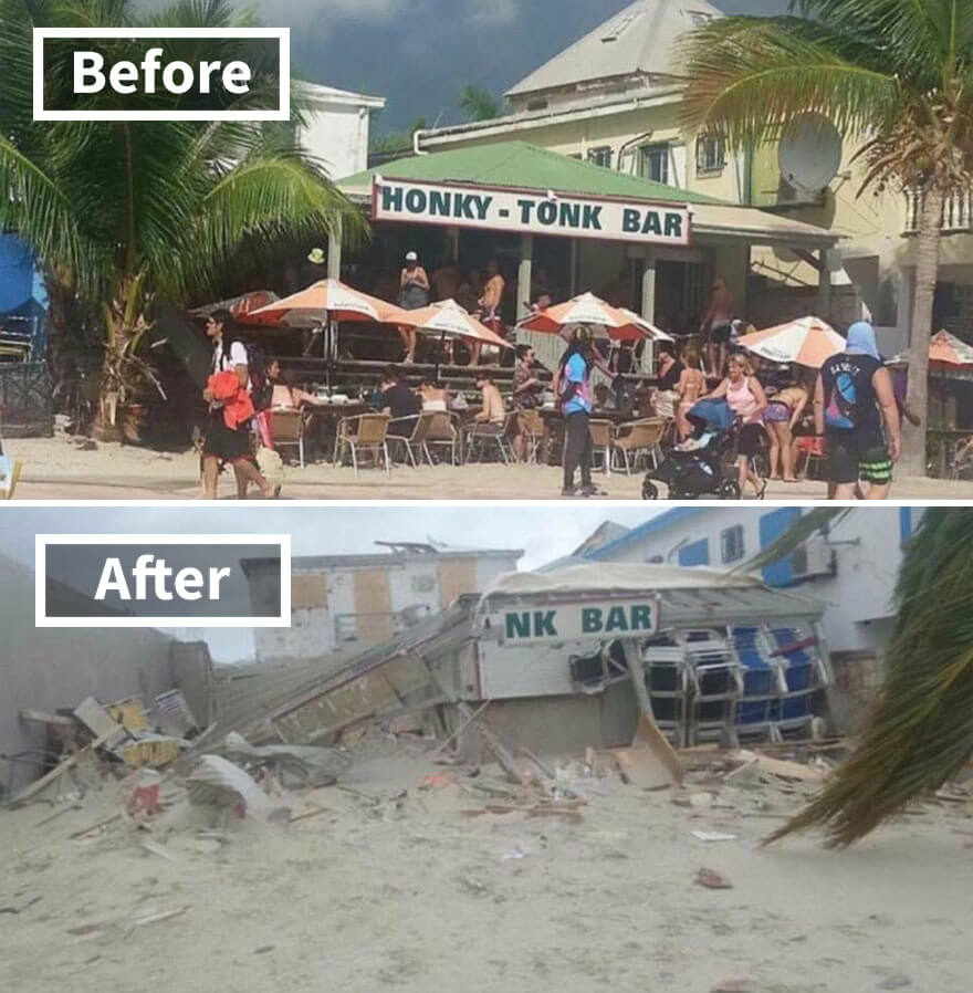 30 Shocking Pictures That Show How Catastrophic Hurricane Irma Is - Popular Honky Tonk Bar In Philipsburg St Martin (Before And After Irma Damage)