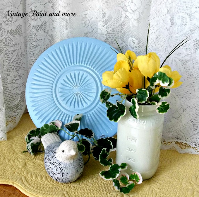 Vintage, Paint and more... spray painted dollar store plate, painted jar
