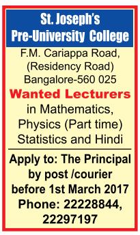 st joseph s pre college bangalore wanted