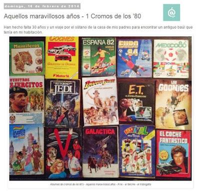 Lo + leído en el troblogdita - enero 2016 - ÁlvaroGP - Álvaro García - Aquellos maravillosos años 80 - cromos