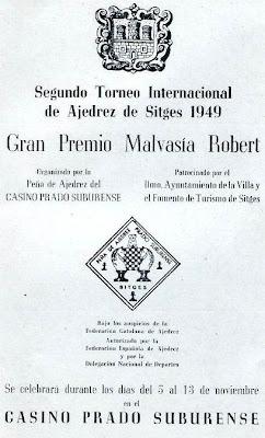Cartel del II Torneo Internacional de Ajedrez de Sitges 1949