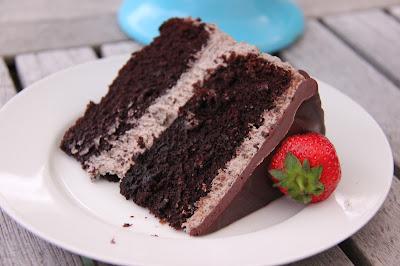 Enjoy a huge slice of this chocolate indulgence cake.