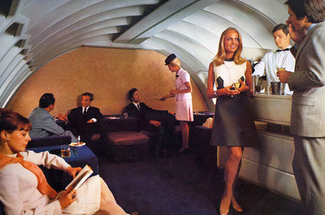 Flying first class back in the seventies.