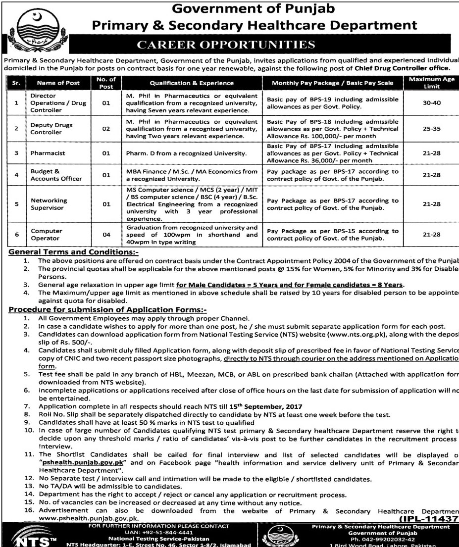 NTS jobs in Primary & Secondary Healthcare Department - Latest jobs ...