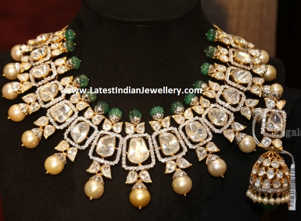 Large Flat Diamonds Necklace Jhumkas