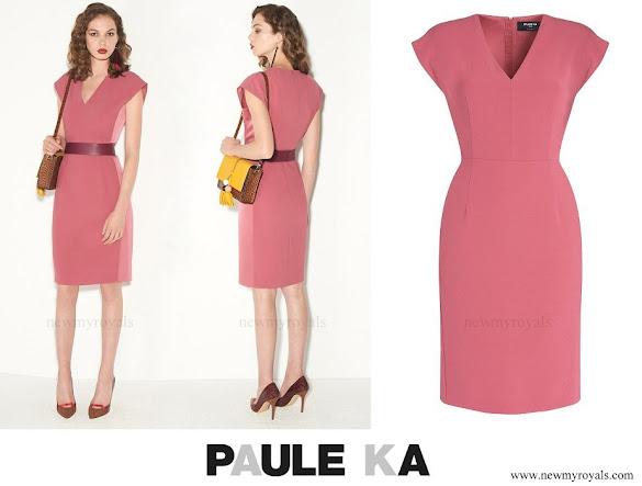 Princess Stephanie wore Paule Ka satin backed crepe dress