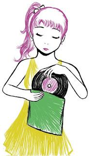 Digital art, retro girl, vinyl record