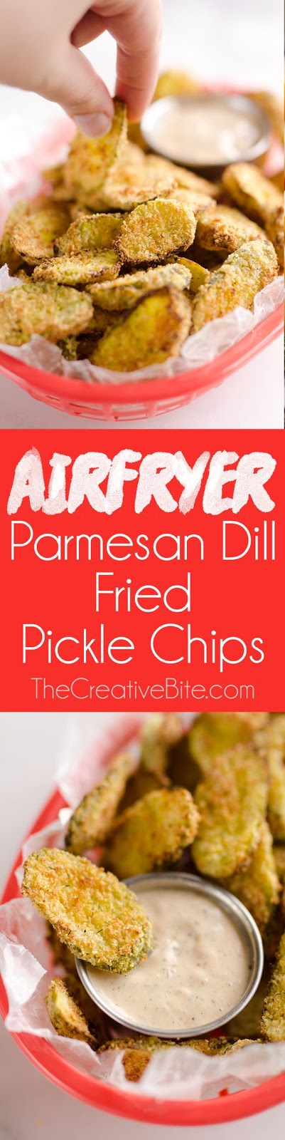 Airfryer Parmesan Dill Fried Pickle Chips