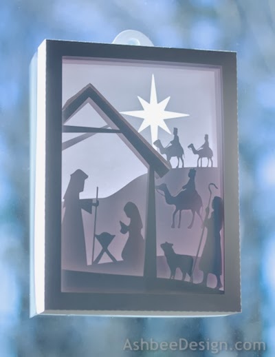 Ashbee design silhouette projects 3d nativity shadow box for 30 lighted nativity christmas window silhouette decoration