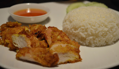 Children's crispy chicken with steamed jasmine rice and sweet chilli sauce from Mantra Thai, Newcastle Quayside