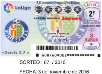 Sorteo del jueves 3 de noviembre de 2016 en la Loteria Nacional