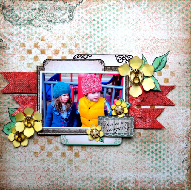 Mixed Media Scrapbook Layout with the Heartfelt Creations All Geared Up Paper Collection