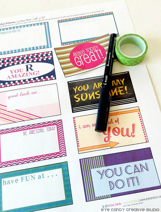 kids lunchbox notes printables, lunchbox notes for kids, make today great