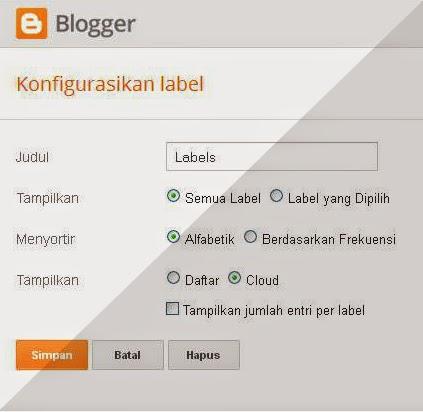 (Penampakan) Konfigurasi Widget Sebelum membuat Widget Label Cloud Flat UI