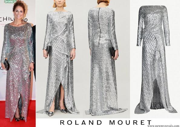 Princess Madeleine wore ROLAND MOURET Sarandon sequin crepe gown