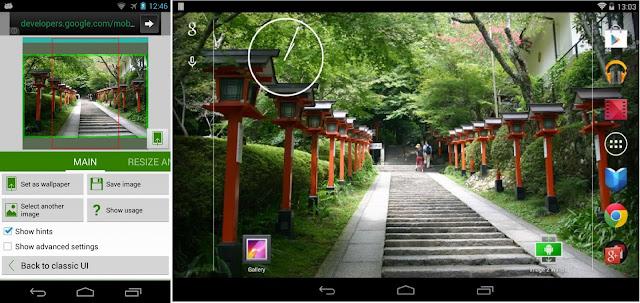 Screenshot langkah-langkah mengatur wallpaper dari album