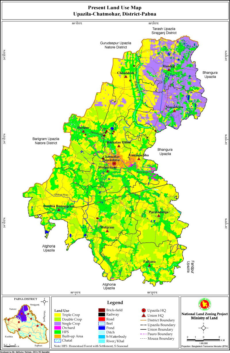 Chatmohar Upazila Mouza Map Pabna District Bangladesh