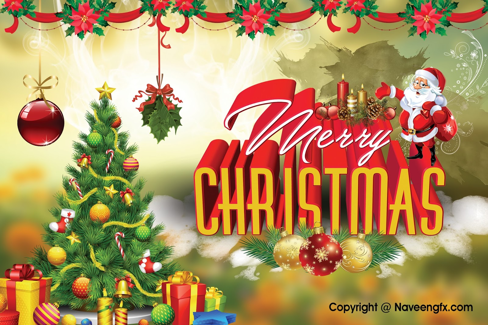 Merry Christmas Ecards And Greetings 3d Psd Background