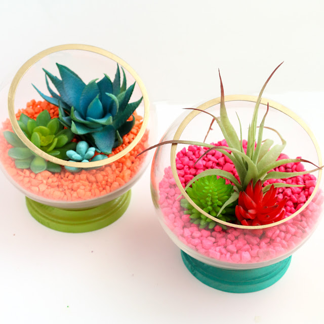 DIY Neon Footed Terrariums using faux succulents and air plants - Hot Pink - Neon Orange - Turquoise and gold - Colorful Terrariums - DIY Terrariums - Quick Craft - DIY Gift