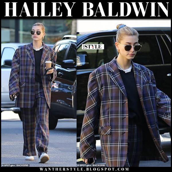 Hailey Baldwin in brown check oversized irene jacket and check irene trousers model off duty style december 7