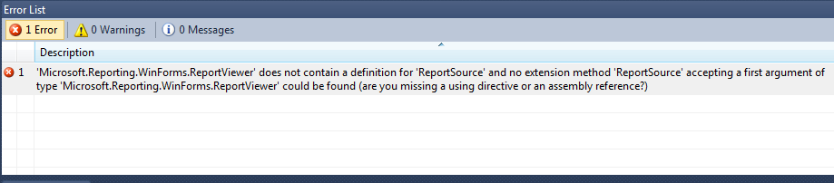 Crystal ReportViewer Does not Contain a Definition for