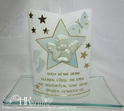 Karins Kreativstube Kerze Kleiner Engel Hellblau