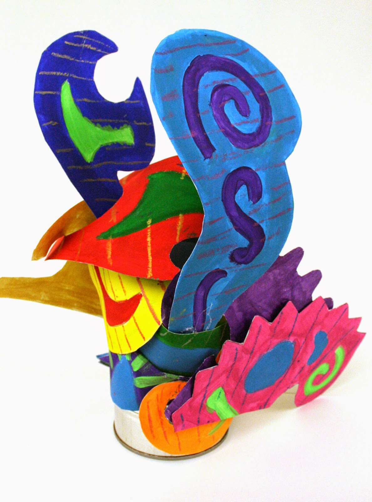 Monument Valley Regional Middle School Art Class Frank Stella Inspired Mixed Media Sculptures