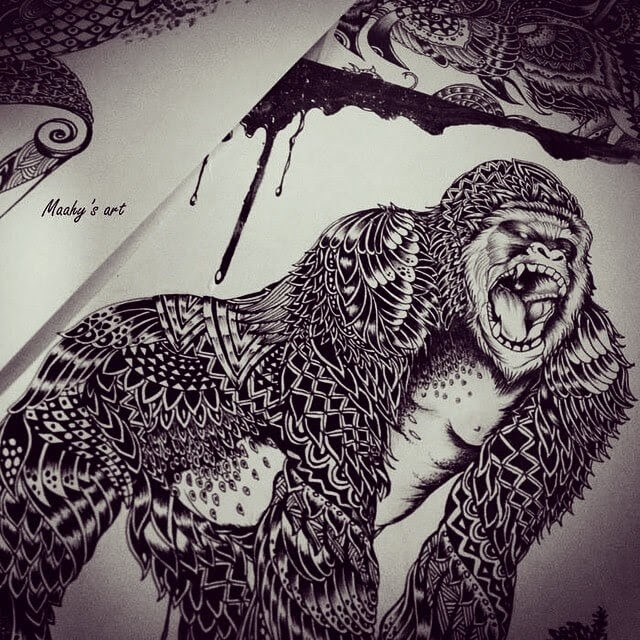 12-Gorilla-Maahy-Drawings-Given-the-Zentangle-Treatment-www-designstack-co