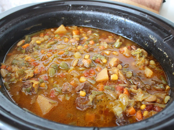 Comfort food for the soul overnight! (Slow cooker Vegetable beef soup in a Crock Pot)
