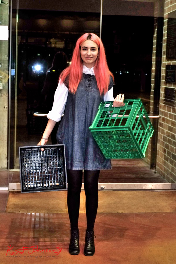 Winter Fashion - Pink hair, white blouse under the blue denim smock, black tights and laced boots.
