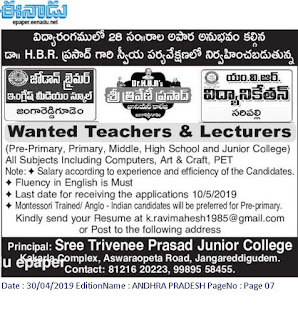 Sree Trivenee Prasad Junior College Lecturers/Teachers Jobs 2019 Recruitment Jangareddygudem,
