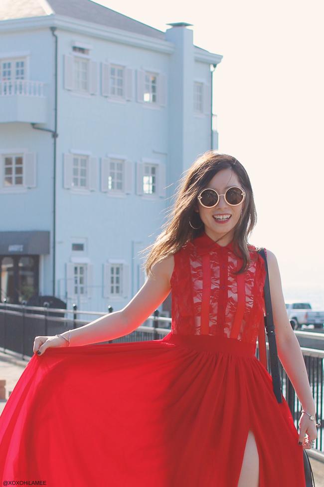 日本人ファッションブロガー,Mizuho K,20170715今日のコーデ,Nastydress-赤レーススリットワンピースドレス,ZARA-ホワイトレザーレースアップスニーカー,SheIn-バケツバッグ,CHOIES-ラウンドオーバーサイズサングラス,Shashi-ブレスレット,evangile-フープイヤリング