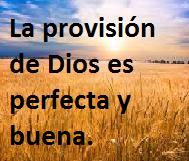 LA PROVISIÓN DE DIOS ES BUENA