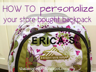 how to personalize a backpack