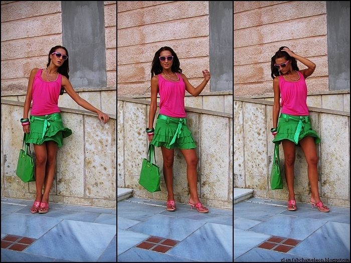 best colorful outfits for summer, pink and green looks