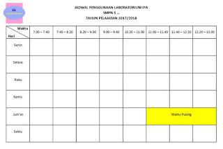 format jadwal penggunaan laboratorium ipa (untuk SMP/MTs)