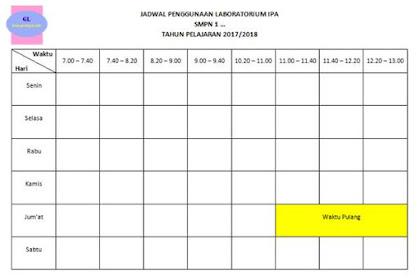 Format Jadwal Penggunaan Laboratorium IPA
