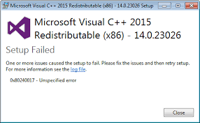 Mengatsi error Microsoft visual c++ 2015 setup failed